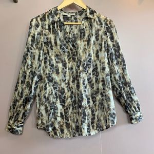 LOFT SHEER LEOPARD ANIMAL PRINT BLOUSE